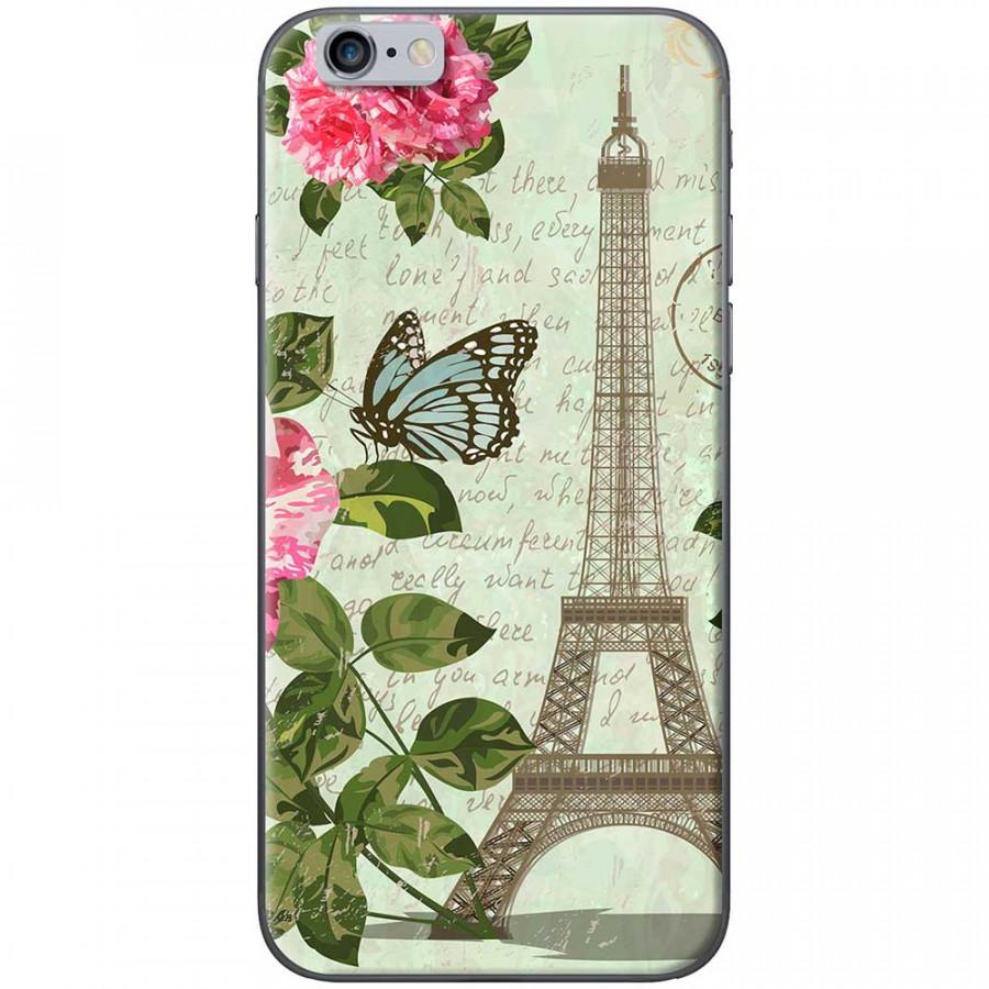 Ốp lưng dành cho iPhone 6 Plus, iPhone 6S Plus mẫu Tháp Effiel con bướm