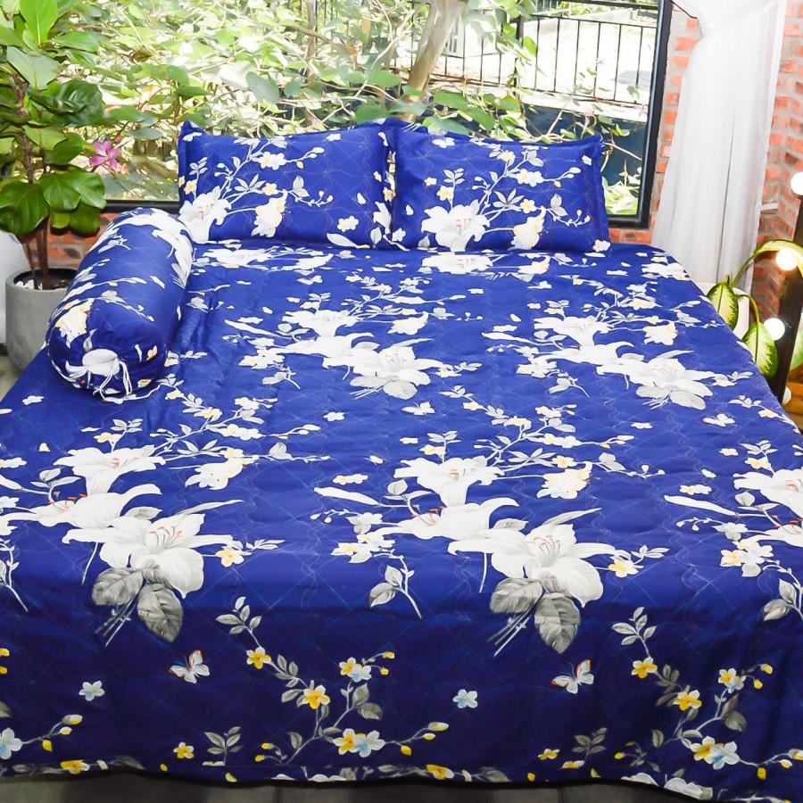 Bộ sản phẩm 5 món , đặc biệt chăn gối chần gòn vải cotton hoa P23