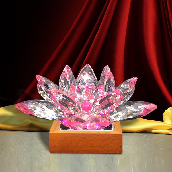 Hoa Sen Pha Lê Đế Đèn Gỗ LED - Trang trí bàn thờ/ Đèn bàn thờ