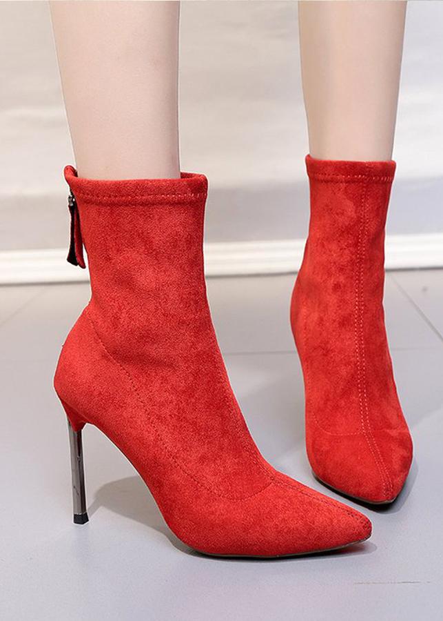 Boot tất cổ lửng da lộn sành điệu màu đỏ GBN19003