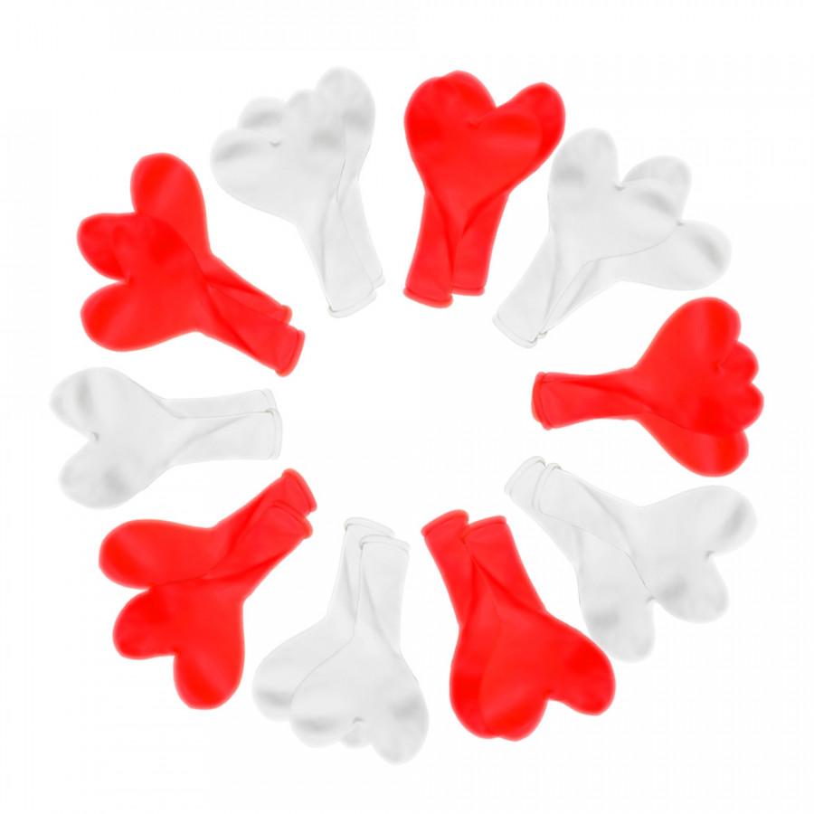 20 bong bóng cao su hình trái tim đỏ - trắng