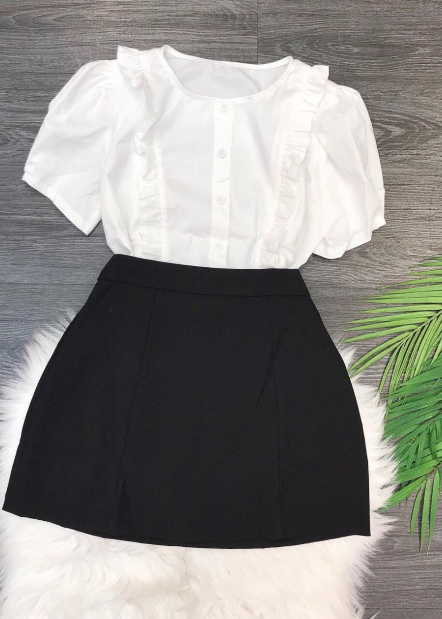 1147079465060 - Set áo trắng bèo chân váy