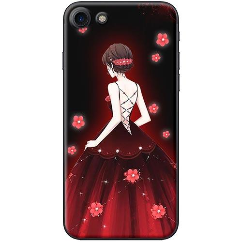 Ốp Lưng Hình Cô Gái Váy Đỏ Hoa Hồng Dành Cho iPhone 7 / 8