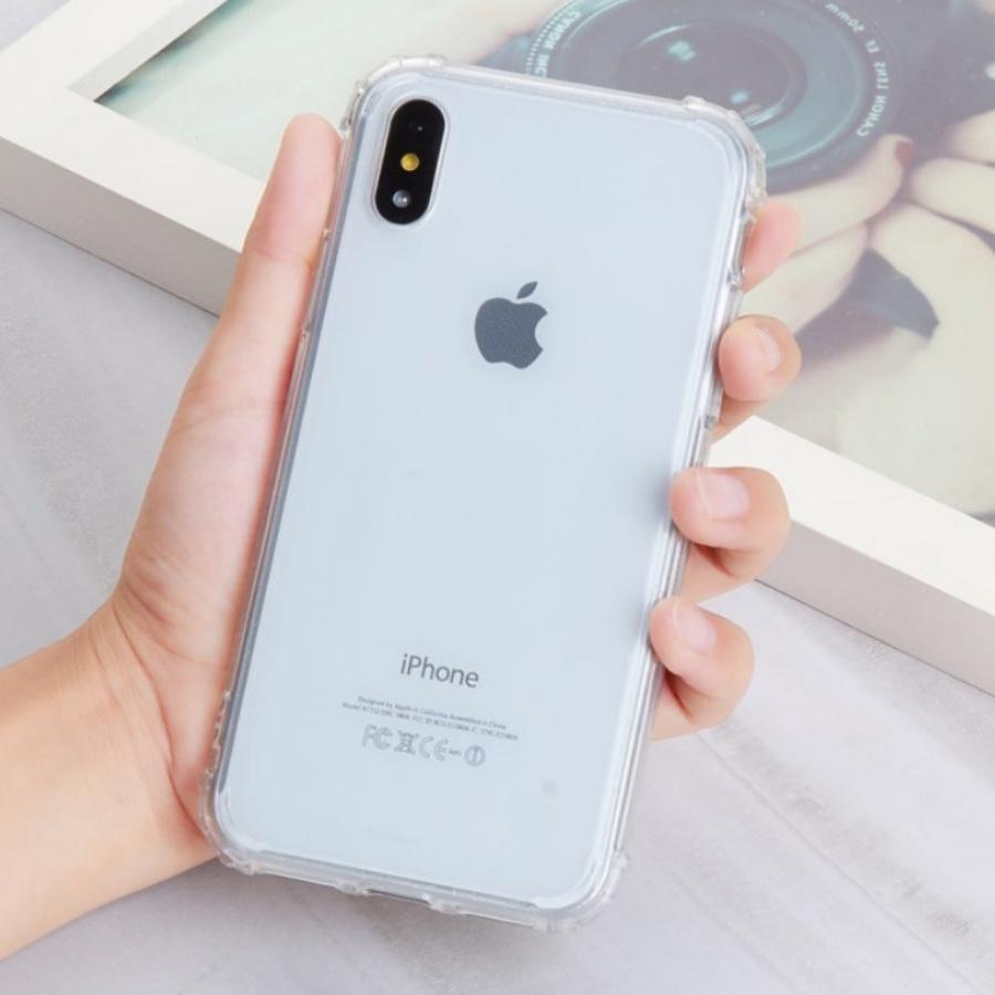 Ốp lưng chống sốc gờ cao 4 góc màu trong cho iPhone X/XS 5.8