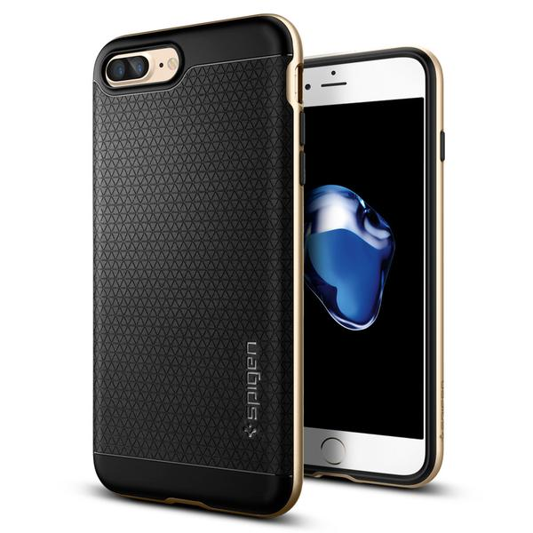 Ốp Lưng iPhone 8 Plus / 7 Plus Hiệu Spigen Neo Hybrid - Màu Đen Viền Vàng Gold
