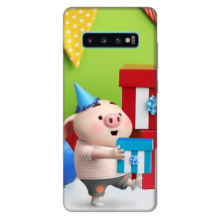 Ốp lưng nhựa cứng nhám dành cho Samsung Galaxy S10 Plus in hình Heo Con Mừng Sinh Nhật