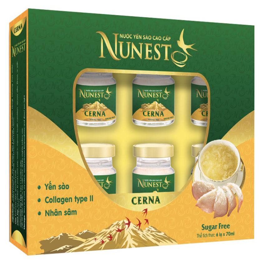 Hộp yến sào cao cấp nhân sâm collagen không đường  Nunest Cerna (6 lọ x 70ml)