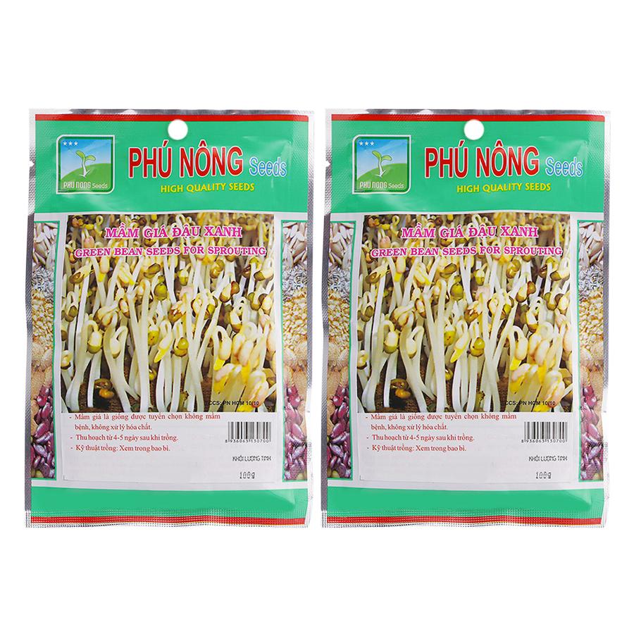 Bộ 2 Gói Hạt Giống Mầm Giá Đậu Xanh Phú Nông (100g / Gói)