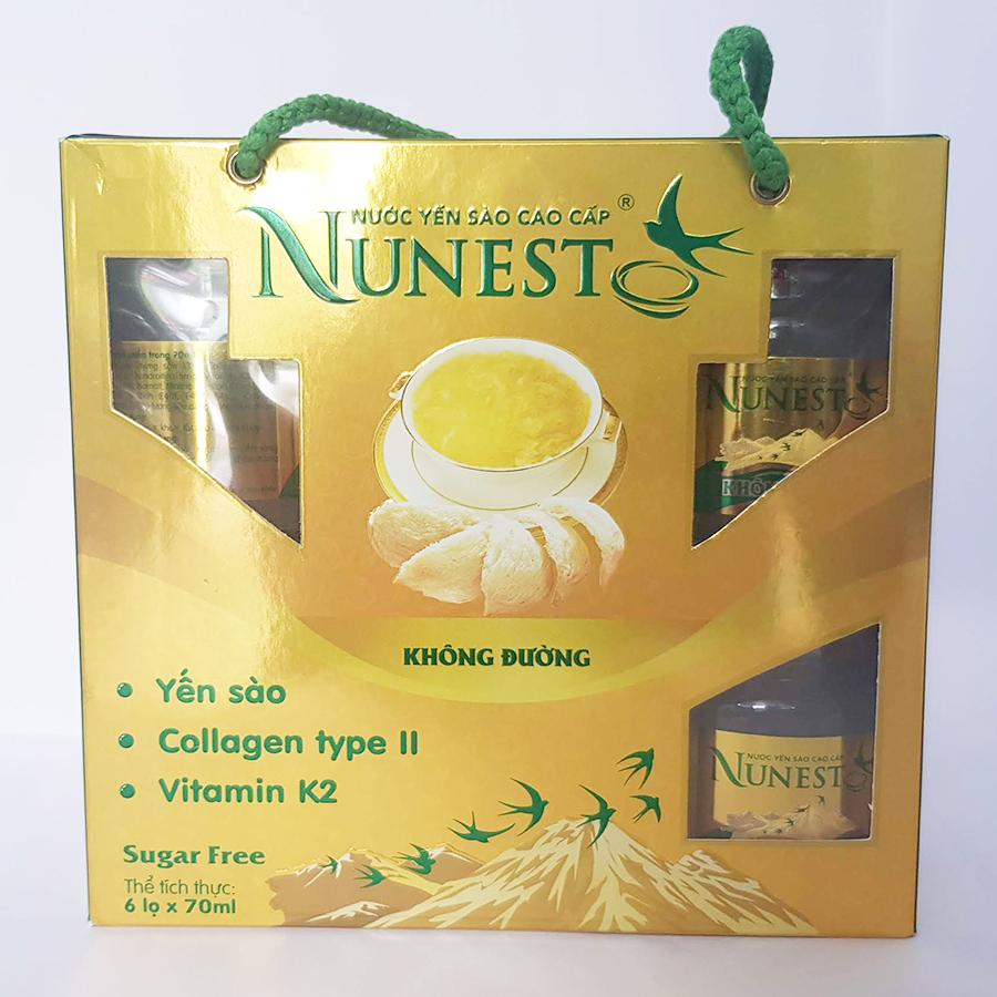 Lốc yến sào cao cấp collagen vitamin K2 không đường Nunest (6 lọ x 70ml)