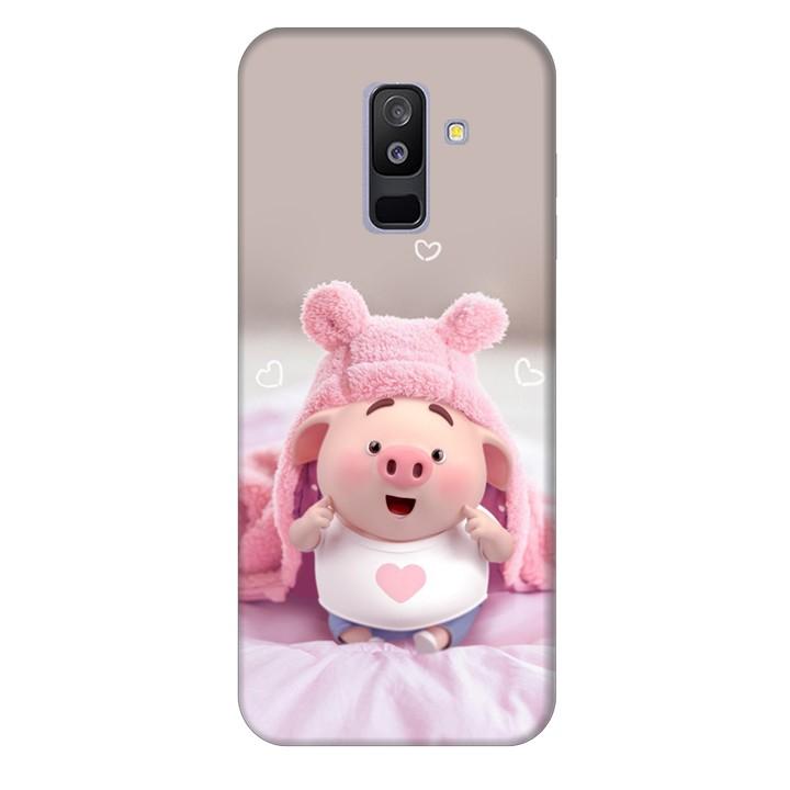 Ốp lưng nhựa cứng nhám dành cho Samsung Galaxy A6 Plus 2018 in hình Heo Con Làm Duyên
