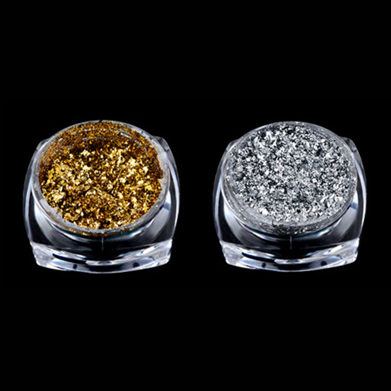 Nail Art Laser Sequin Glitter Tips Nail Decoration DIY Accessories Gold/Silver-gold color