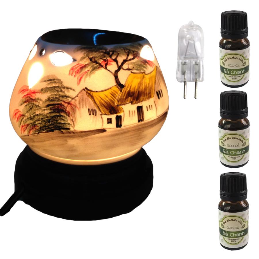 Đèn xông tinh dầu tam giác làng quê và 3 tinh dầu sả chanh Eco 10ml và 1 bóng đèn