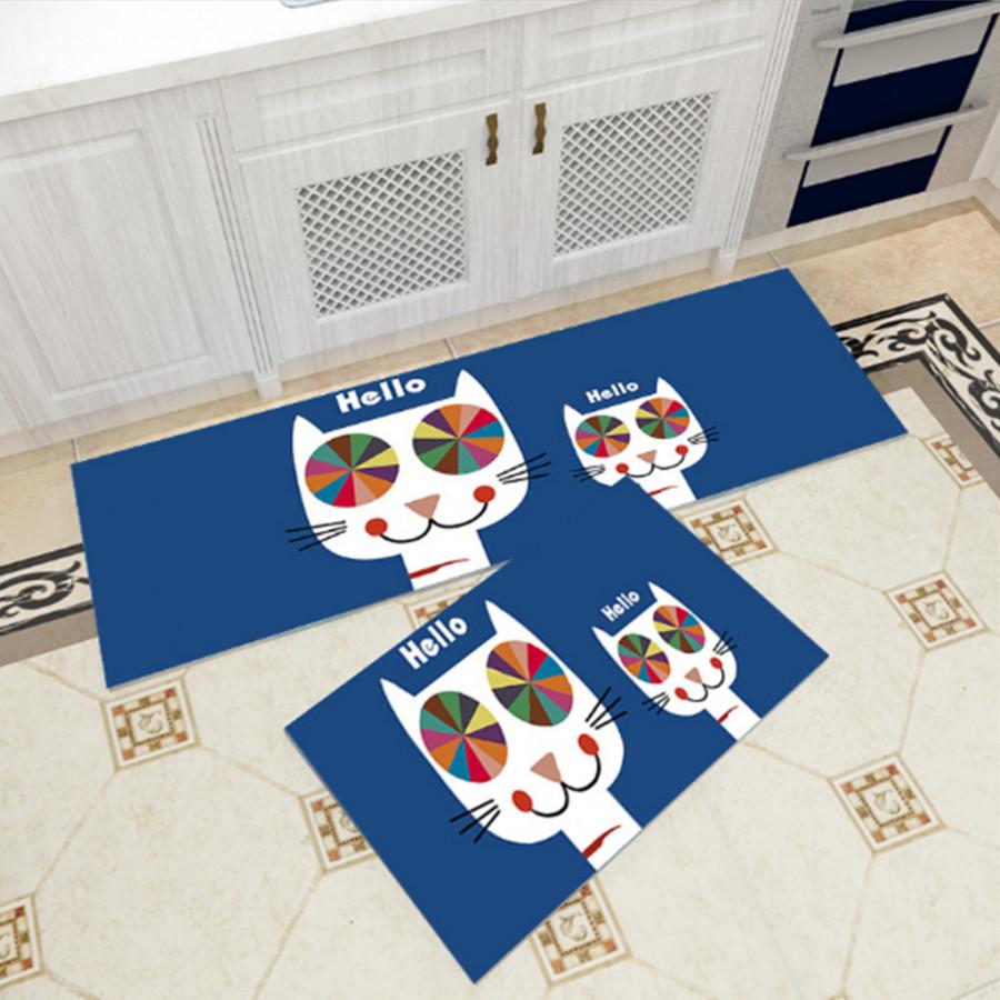 Bộ 2 thảm trang trí, thảm bếp cao cấp GOO29 (40x60 cm và 40x120 cm)