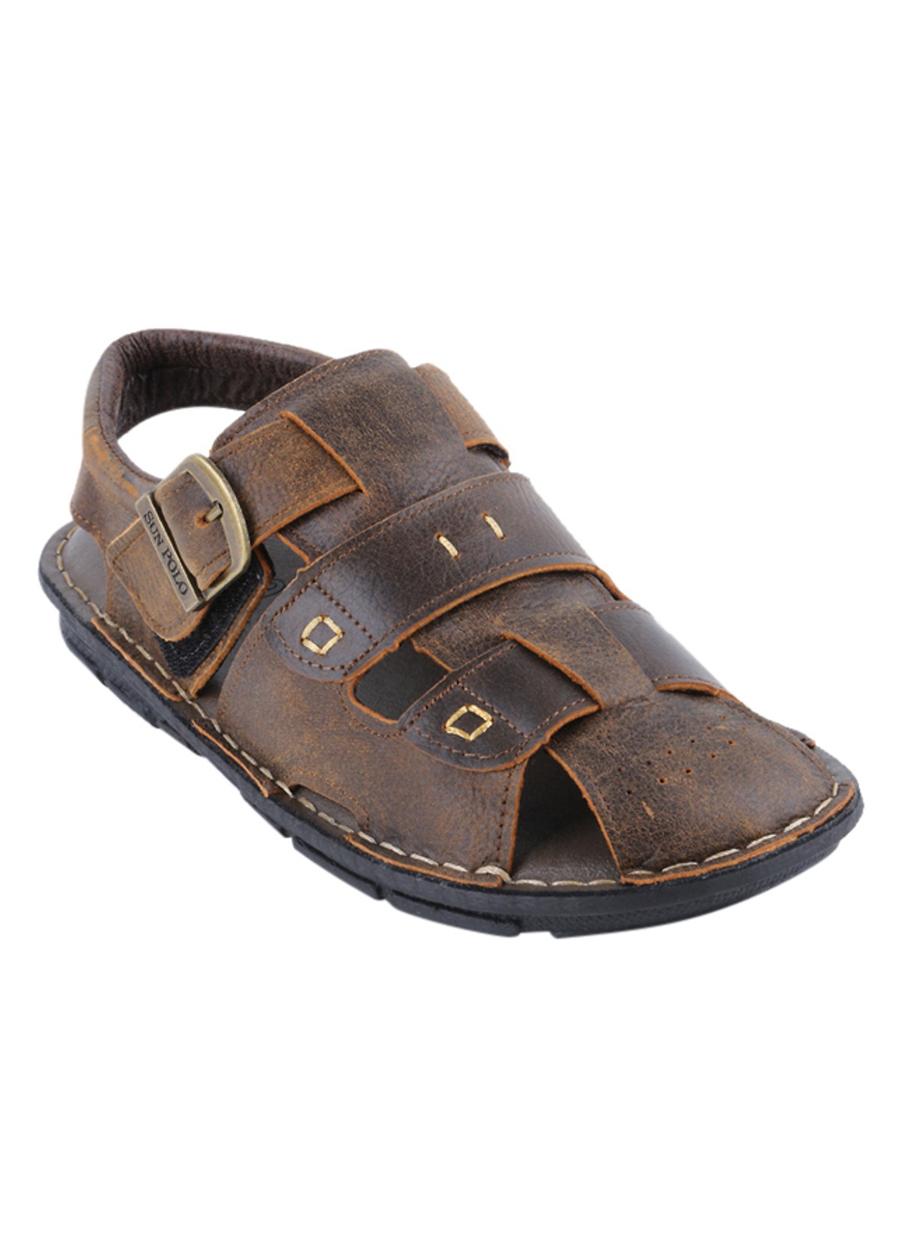 Giày Sandal Nam Da Bò Cao Cấp SUNPOLO SUSDA20N - Nâu