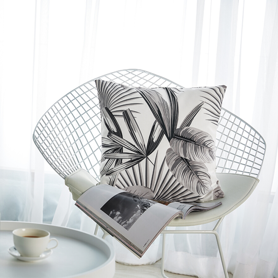 Jia Bai pillow Boboli garden pillow sofa cushion office pillow bed backrest car waist cushion with core grayscale space 45 * 45cm [Jingdong own...
