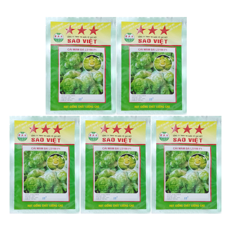 Bộ 5 Túi 20 Hạt Giống Cải Mầm Đá (Brassica Oleracea)