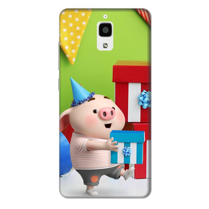 Ốp lưng nhựa cứng nhám dành cho Xiaomi Mi 4 in hình Heo Con Mừng Sinh Nhật