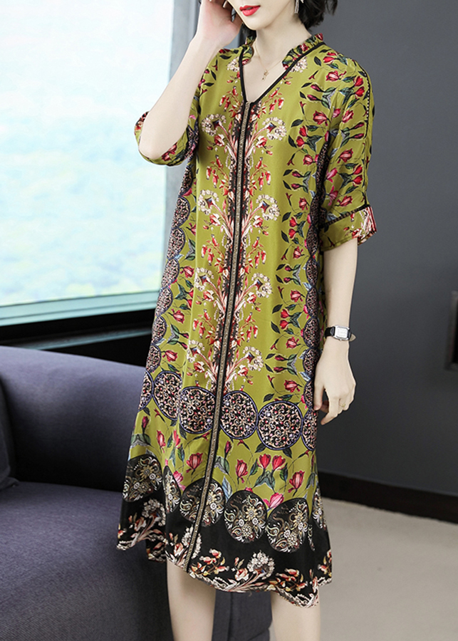 1007085212181 - Đầm suông bigsize dạo phố kiểu đầm suông in họa tiết hoa và hoa văn viền kim tuyến ROMI1625