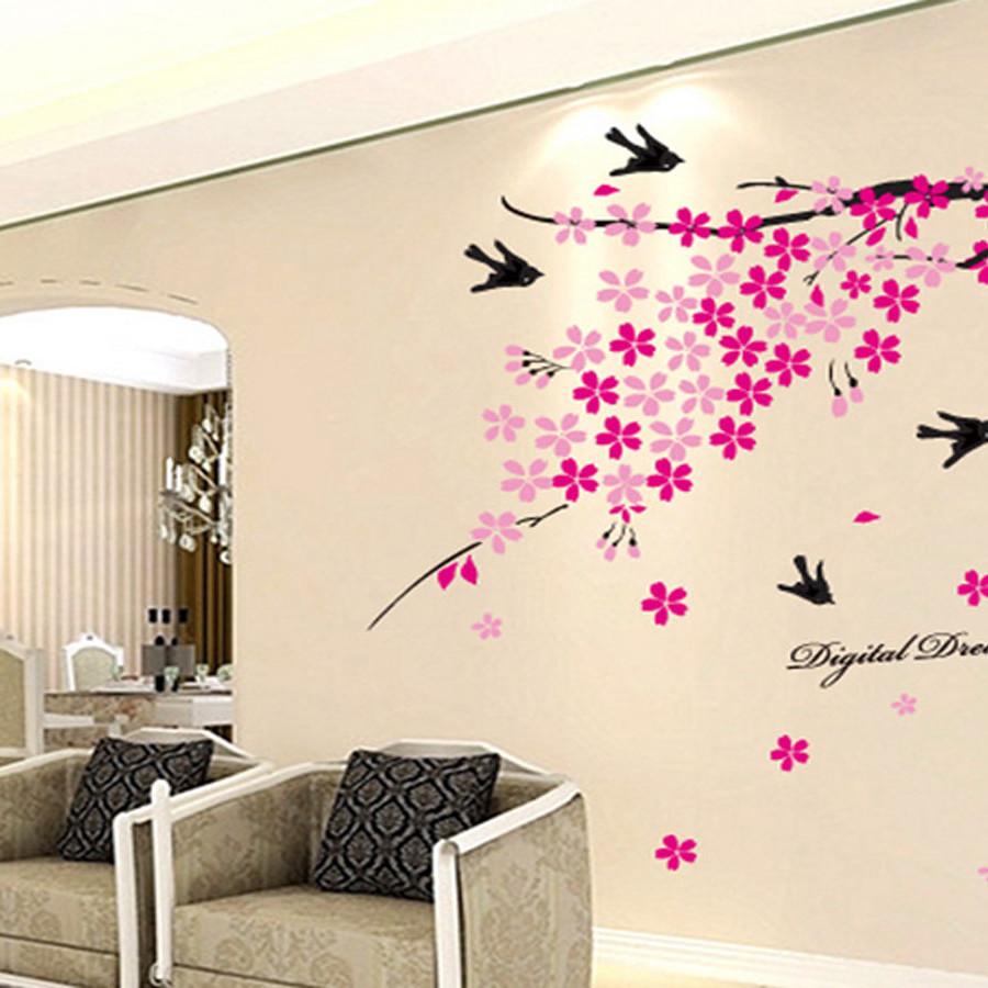 Decal dán tường luvina hoa đào ay936