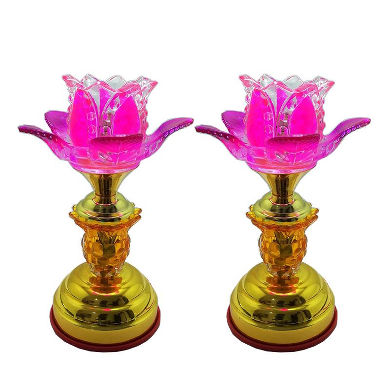 Bộ 2 đèn thờ thân vàng hoa sen tím thân cao 23cm VDN07-6