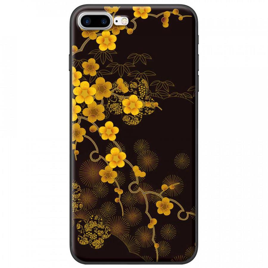Ốp lưng dành cho iPhone 7 Plus mẫu Hoa mai nền đen