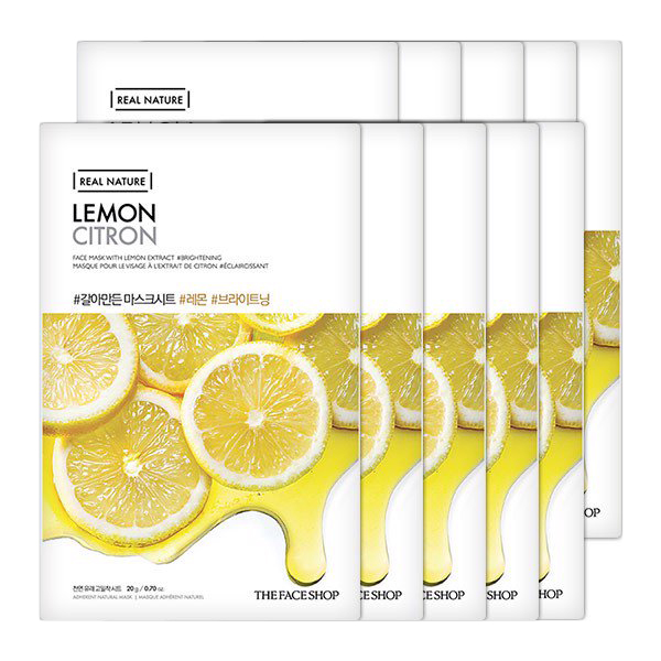 Combo 10 Mặt Nạ Giấy The Face Shop Real Nature Lemon Face Mask (20g)