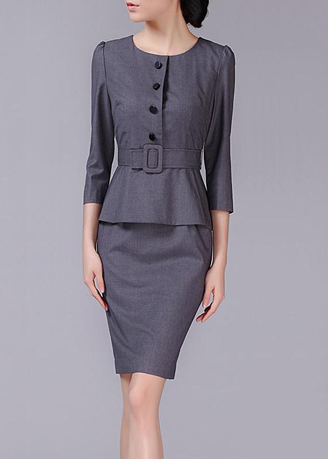 Đầm Ôm Nữ Công Sở Cao Cấp HR1421 - Xám