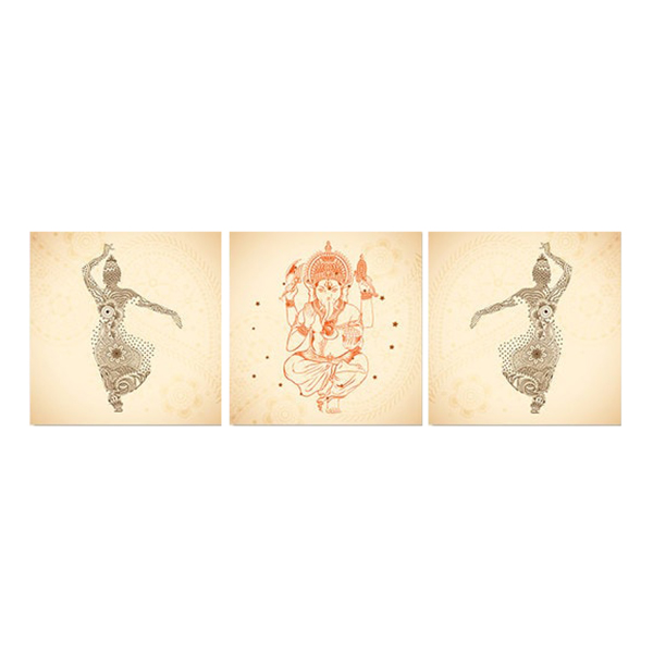 Bộ 3 Tranh Thờ Thần Ganesha W454