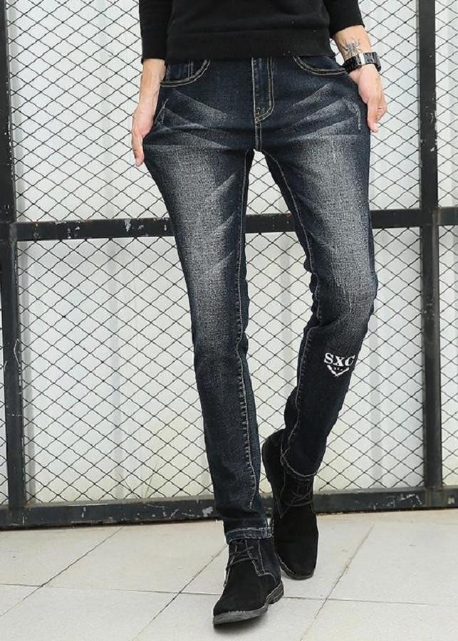 Quần Jeans Nam In Chữ Co Giãn Phong Cách Hàn Quốc