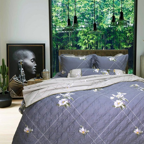 Bộ chăn ga gối drap giường cotton satin Hàn Quốc Julia 401 - 5 món có Chăn