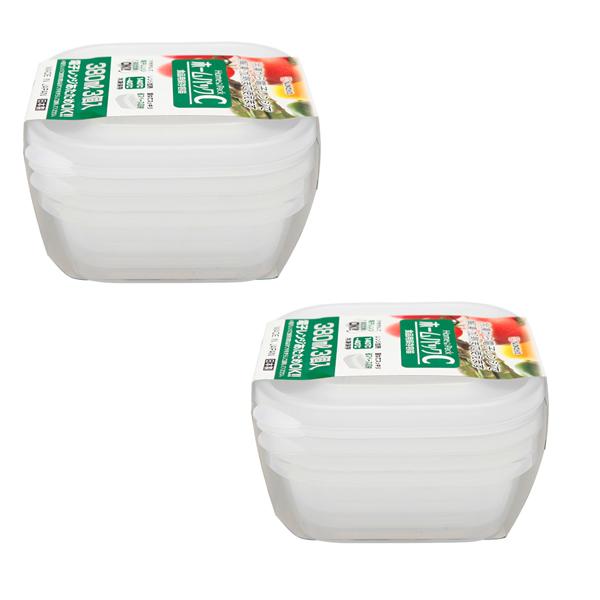 Combo Set 3 hộp nhựa 380ml màu trắng nội địa Nhật Bản