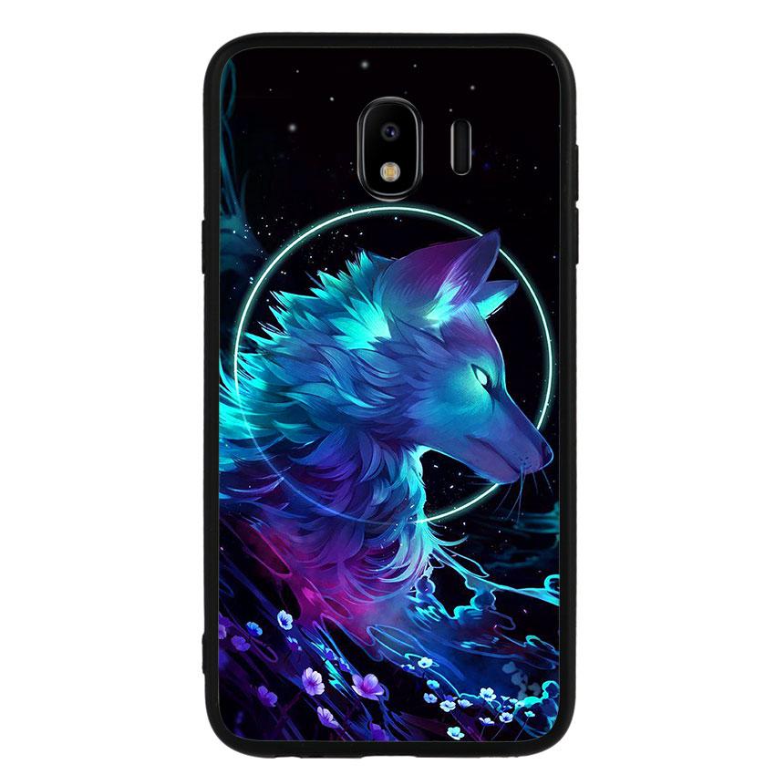 Ốp lưng nhựa cứng viền dẻo TPU cho điện thoại Samsung Galaxy J4 2018 - Wolf