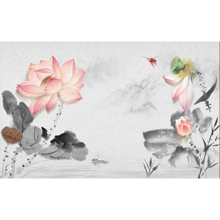 Tranh dán tường 3d | Tranh dán tường phong thủy hoa sen cá chép 3d 313