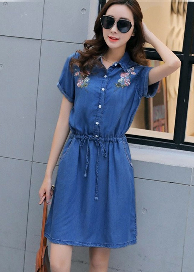 Đầm Jean Thêu Hoa Thắt Nơ BY1048
