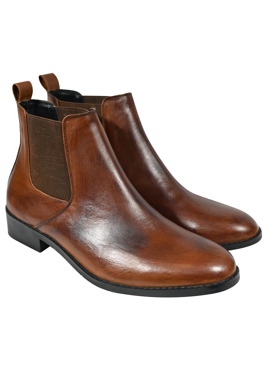 Giày Chelsea Boot Tathanium Nam Màu Gỗ Sồi Da Pullup TFTNLWX8812