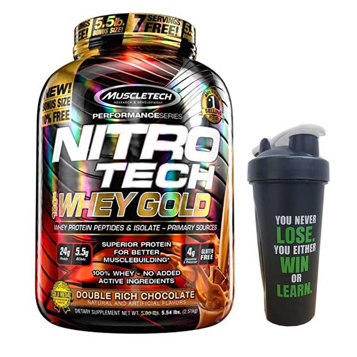 Combo Sữa tăng cơ Nitro Tech 100% Whey Gold của Muscle tech hương socola hộp 76 lần dùng  Bình lắc 600 ml (Màu Ngẫu Nhiên)