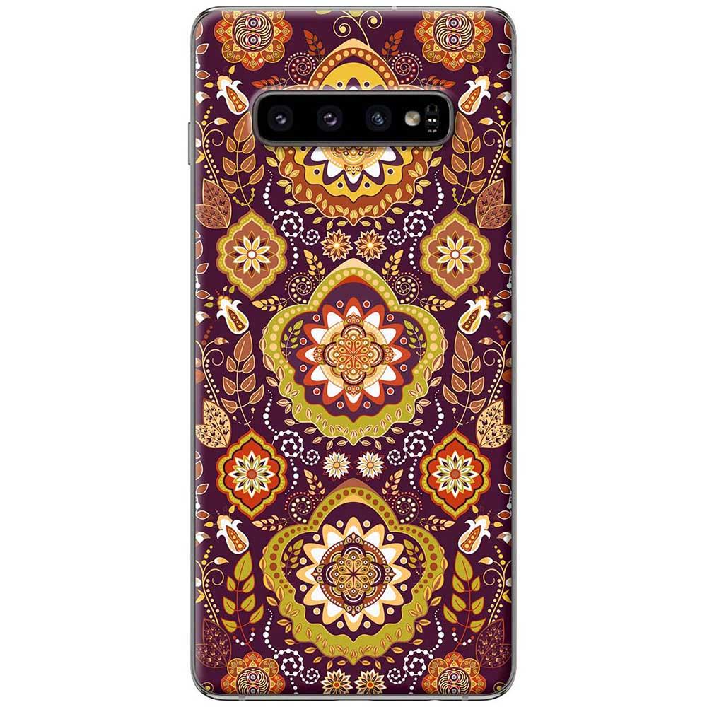 Ốp lưng  dành cho Samsung Galaxy S10 mẫu Họa tiết đồng tâm nâu