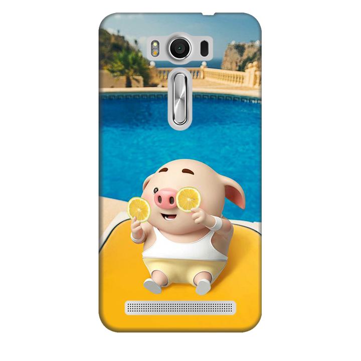 Ốp lưng nhựa cứng nhám dành cho Asus Zenfone 2 Laser ZE500KL in hình Heo Tắm Bể Bơi