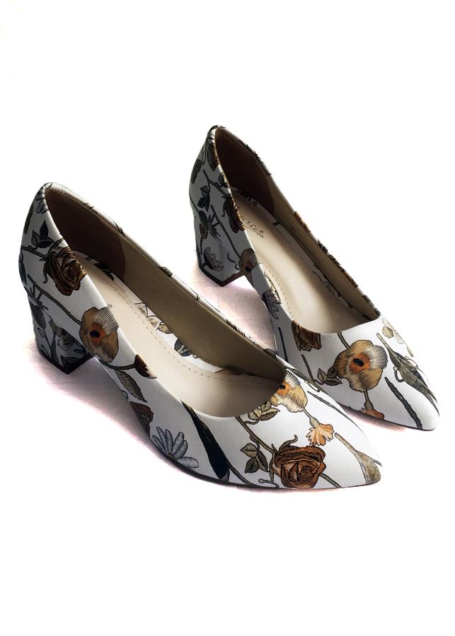 Giày Cao Gót Nữ in họa tiết 3D da mềm Gót Cao 5cm
