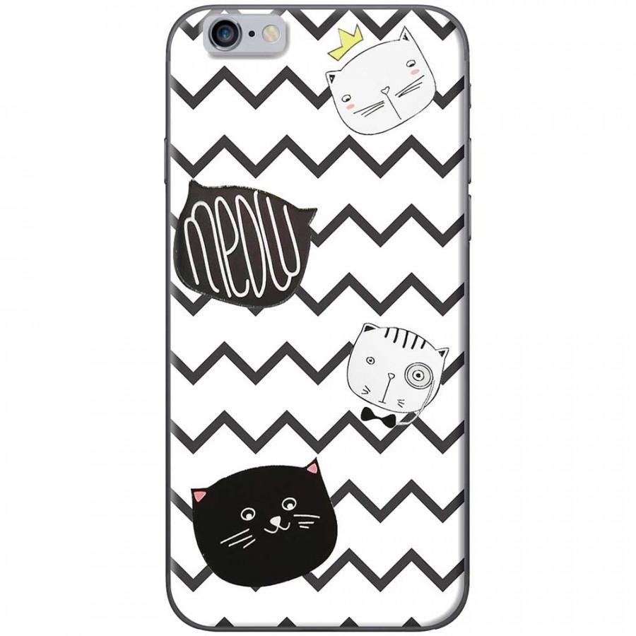 Ốp lưng dành cho iPhone 6 Plus, iPhone 6S Plus mẫu Mèo trắng đen sọc