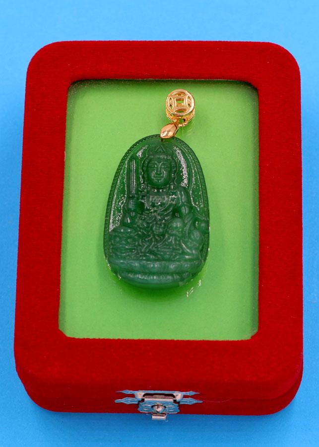 Mặt Phật Văn Thù bồ tát - thạch anh xanh 3.6cm MTXA3 - kèm hộp nhung - tuổi Mão
