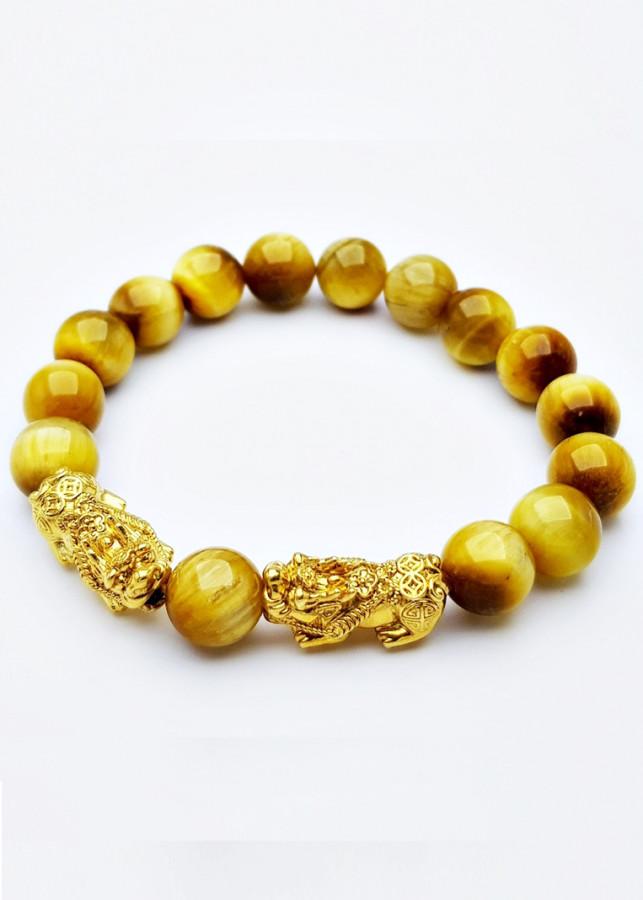 Vòng Tay Phong Thủy Đá Opal Vàng Tự Nhiên Tỳ Hưu Bạc Mạ Vàng 24K 10MM