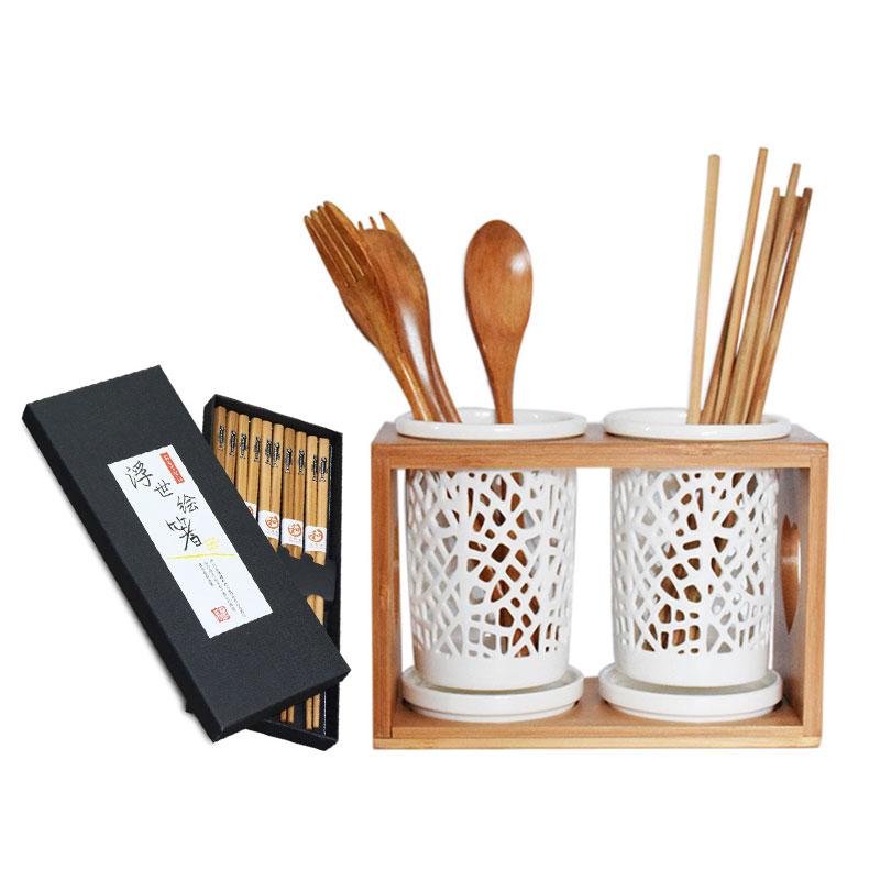 Ống đũa sứ đựng đũa muỗng khay gỗ (Tặng kèm bộ đũa Nhật Bản) - 9494595 , 7416704992863 , 62_17604744 , 510000 , Ong-dua-su-dung-dua-muong-khay-go-Tang-kem-bo-dua-Nhat-Ban-62_17604744 , tiki.vn , Ống đũa sứ đựng đũa muỗng khay gỗ (Tặng kèm bộ đũa Nhật Bản)