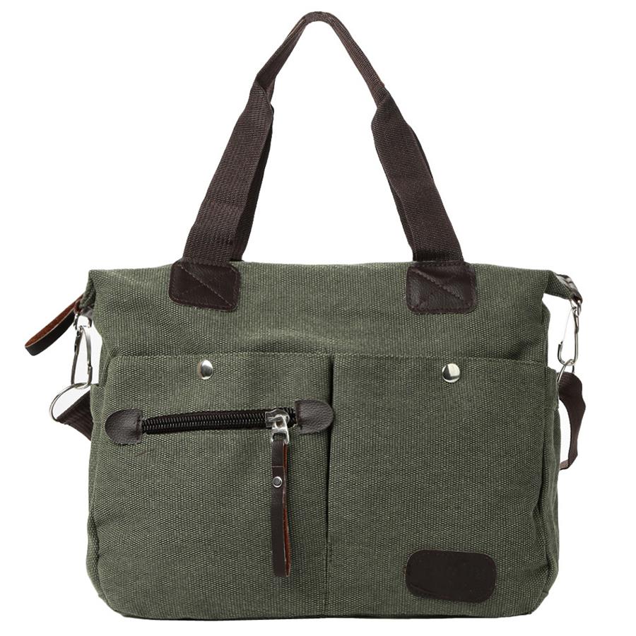 Retro Men Women Canvas Handbag Large Capacity Shopping Travel Crossbody Bag Shoulder Messenger Bag