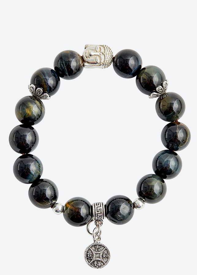 Vòng tay đá mắt hổ xanh đen charm tiền Ngọc Quý Gemstones