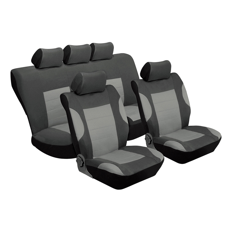 TIROL Car Seat Covers Universal 11PCS Full Set Automobile Seat Covers Car Protective Interior Accessories Fit with Most - Grey