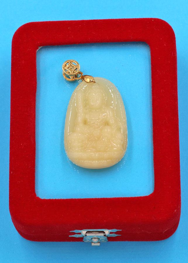 Mặt Phật Văn Thù bồ tát - ngọc tủy vàng 3.6cm MNTVB3 - kèm hộp nhung - tuổi Mão
