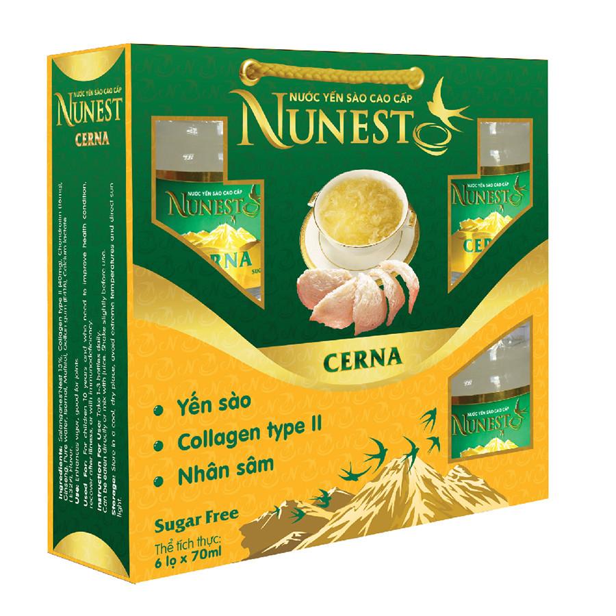 Lốc yến sào cao cấp nhân sâm collagen không đường Nunest Cerna (6 lọ x 70ml)