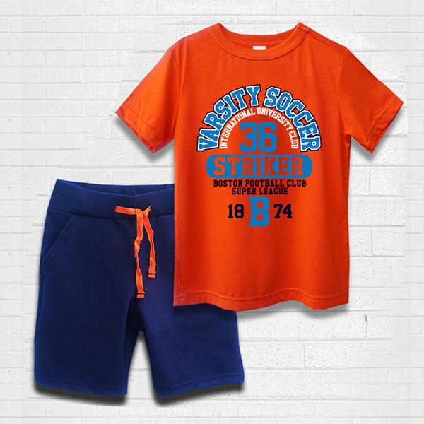Quần áo bé trai TAMOD màu cam hình thể thao cực chất.