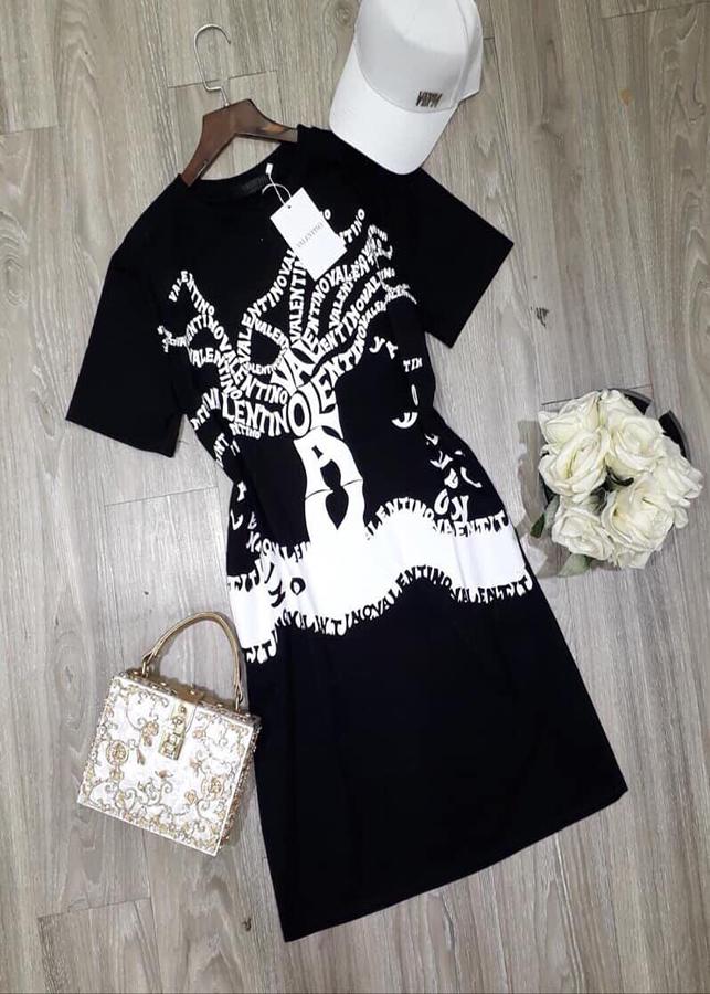 Đầm thun suông in hình